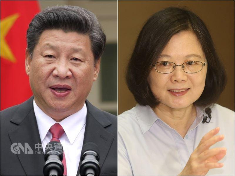 回顧過去兩年的台海情勢,總統蔡英文(右)堅持「維持現狀、不挑釁、不屈服」的兩岸政策,因應北京當局的外交、軍事、經貿威脅。左為中國國家主席習近平。(中央社檔案照片)