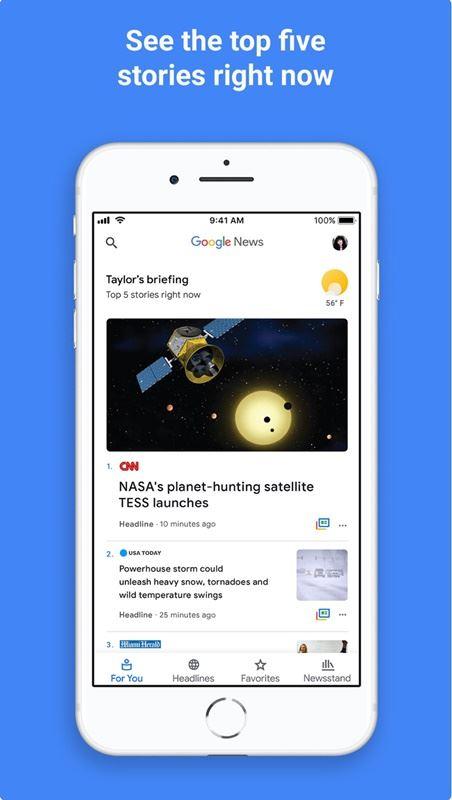 Google公司日前推出更新版的Google新聞應用程式。(圖取自AppStore)