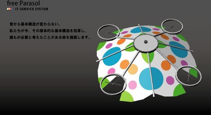 一家日本公司開發出一款無人機陽傘,無人機上安裝相機,可追蹤使用者,盤旋在他頭上遮陽。(圖取自freeParasol網頁www.it-service.co.jp/itservice/it-top.html)