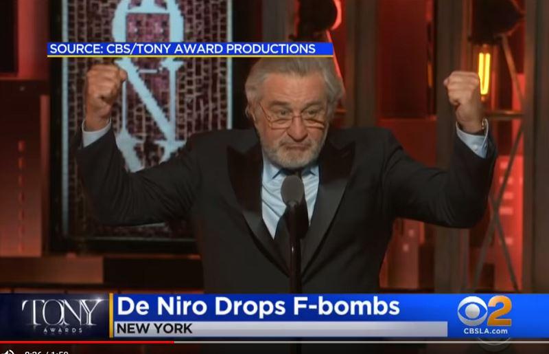 奧斯卡影帝勞勃狄尼洛10日在第72屆東尼獎頒獎典禮飆髒話,在這項電視實況轉播的盛會咒罵美國總統川普。(圖取自CBSLosAngelesYouTube頻道網頁)