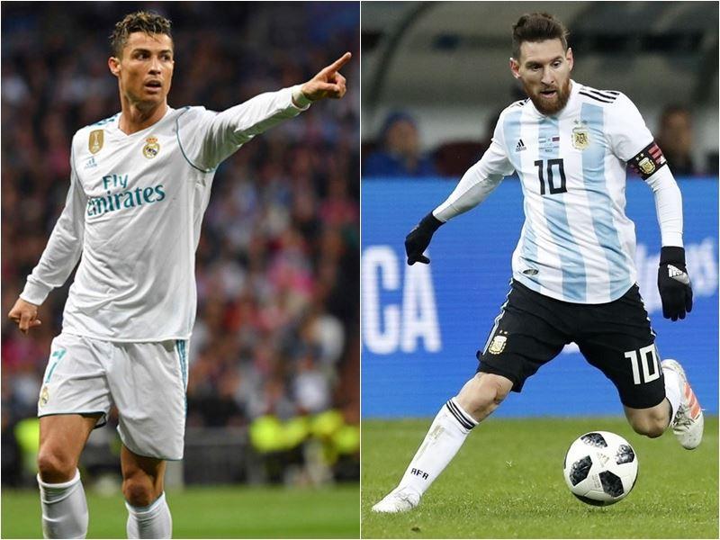 阿根廷王牌梅西(右)與葡萄牙隊的「C羅」羅納度(左)被公認是當今足壇兩名最偉大的球星。(達志提供)