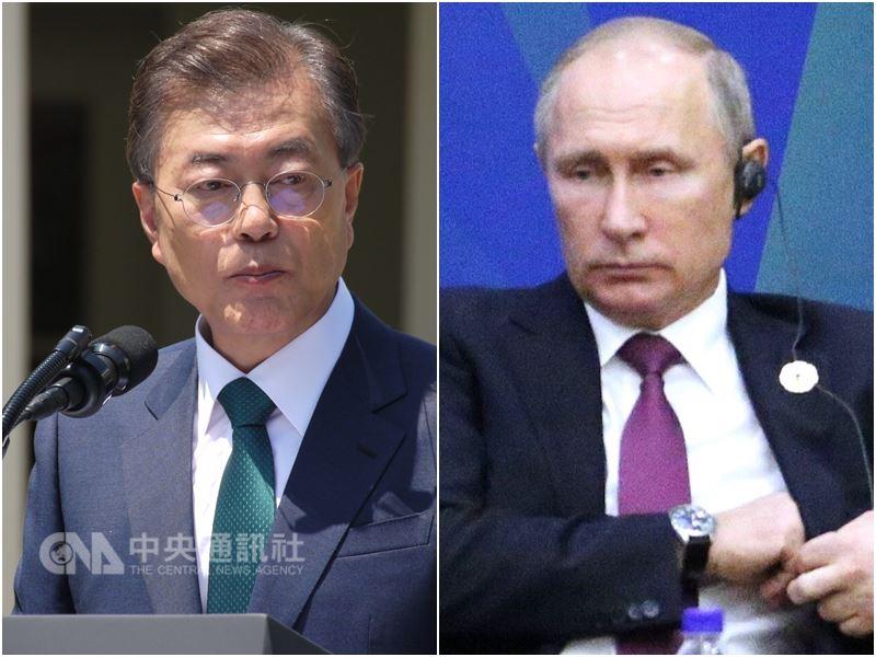 青瓦台14日表示,南韓總統文在寅(左)將在21到23日訪問俄國,並與俄羅斯總統蒲亭(右)舉行高峰會。(中央社檔案照片)