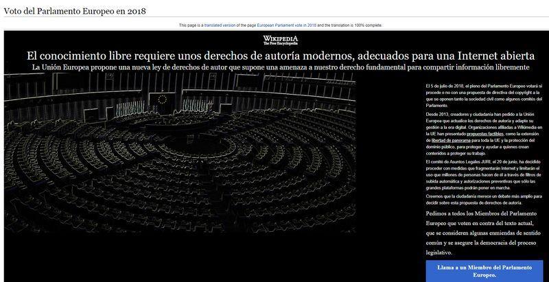 線上百科全書維基百科4日在至少3國關閉網站,抗議歐洲議會即將表決的爭議性新版著作權法。(圖取自西班牙維基百科網頁es.wikipedia.org)