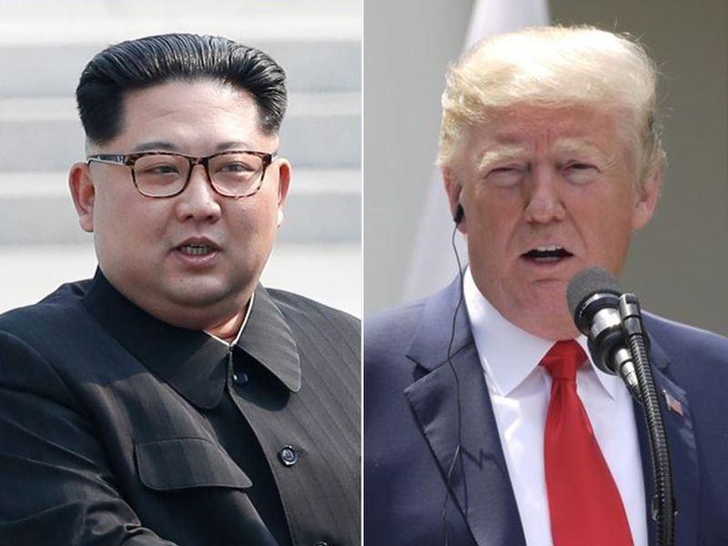 北韓領導人金正恩(左)寫信給美國總統川普(右)。川普推文說,他深信雙方為終結核子僵局所作努力將獲成果。(左為兩韓峰會共同採訪團提供、右為中央社檔案照片)