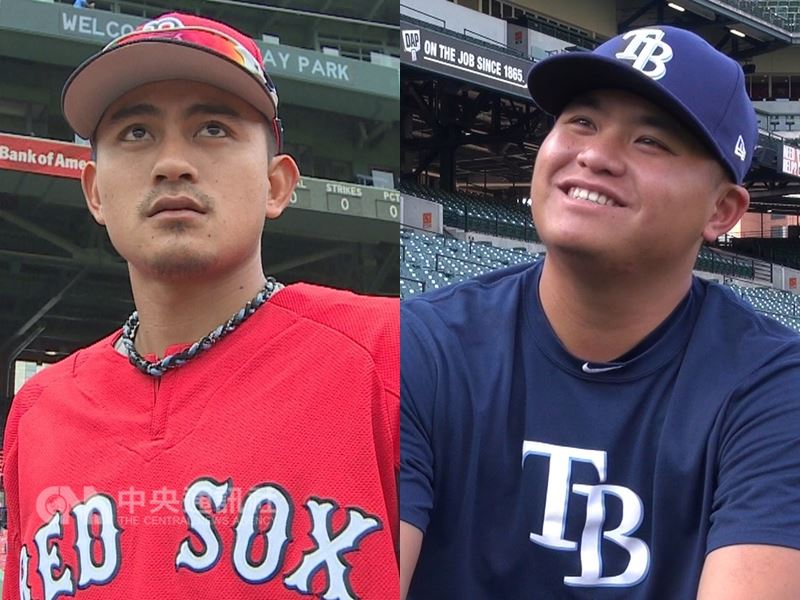 繼波士頓紅襪隊的台灣野手林子偉(左)12日再度被叫上大聯盟後,效力坦帕灣光芒隊的台灣投手胡智為(右)也登上大聯盟。(中央社檔案照片)