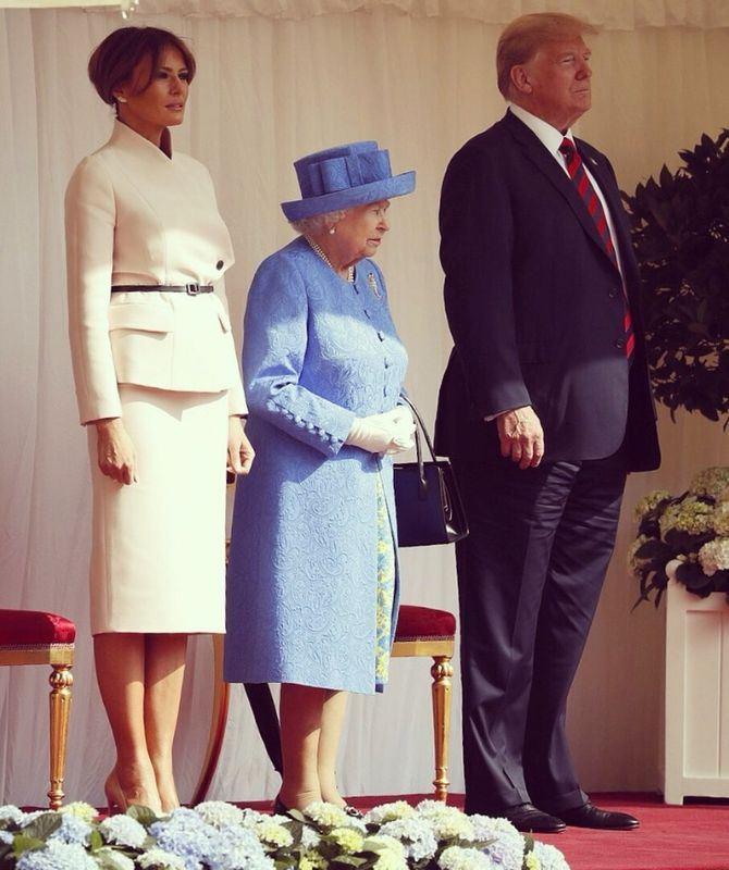 美國總統川普13日在溫莎城堡會見英國女王。(圖取自梅蘭妮雅推特twitter.com/flotus)