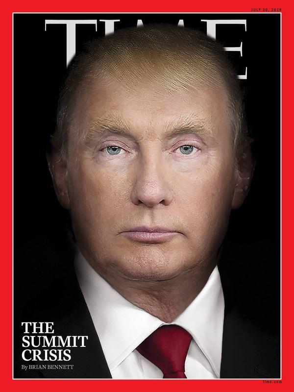 時代雜誌公布最新一期封面,將美國總統川普和俄國總統蒲亭的臉孔合而為一。(圖取自時代雜誌臉書www.facebook.com/time/)