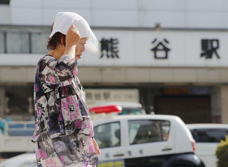 埼玉縣熊谷市觀測到最高氣溫41.1度,創日本氣象觀測史上新高紀錄。(共同社提供)