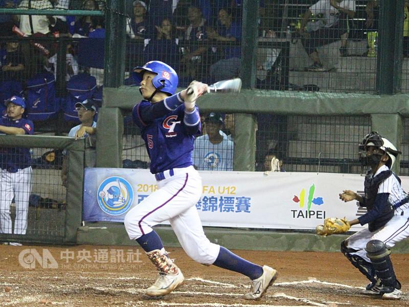 第10屆BFA U12亞洲少棒錦標賽,中華隊14日與實力有段差距的斯里蘭卡隊交手,中華隊單場3轟,張趙紘(圖)生涯首度敲出單場雙響砲,助中華隊以29比0拿下預賽2連勝。(中華民國棒球協會提供)中央社記者謝靜雯傳真 107年8月14日