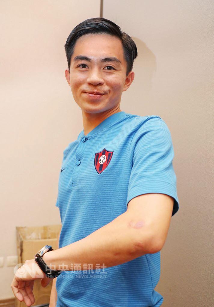 台灣足球員林育葦經過近2年的努力,踢進巴拉圭足球俱樂部「波特諾山丘」。 中央社記者裴禛亞松森攝 107年8月16日