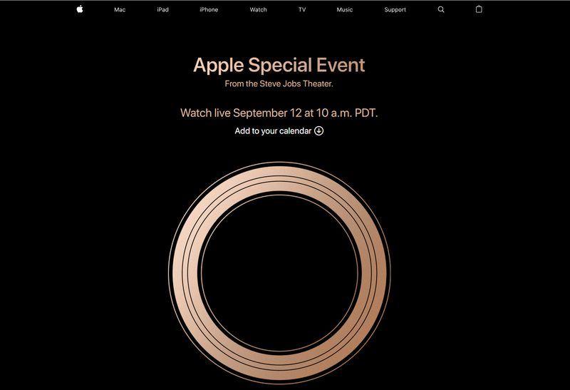 蘋果公司新一代iPhone美國時間9月12日發表,由於邀請函圖樣有金色光圈,引發社群媒體臆測將發表金色款iPhone X後繼機型。(圖取自蘋果網頁www.apple.com)
