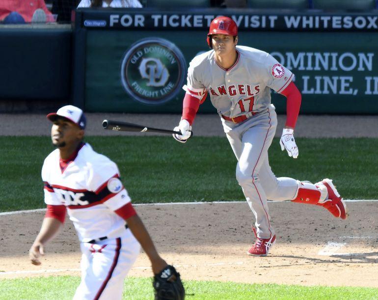 美國職棒大聯盟洛杉磯天使隊日籍球星大谷翔平,4日至9日連5場比賽皆有安打。(共同社提供)