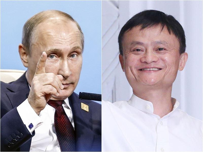 俄羅斯總統蒲亭(左)11日問阿里巴巴董事局主席馬雲(右)說,「你這麼年輕為什麼退休」。馬雲答稱,「總統先生,我不年輕了」。(圖左為檔案照片/中新社提供;右為中央社檔案照片)