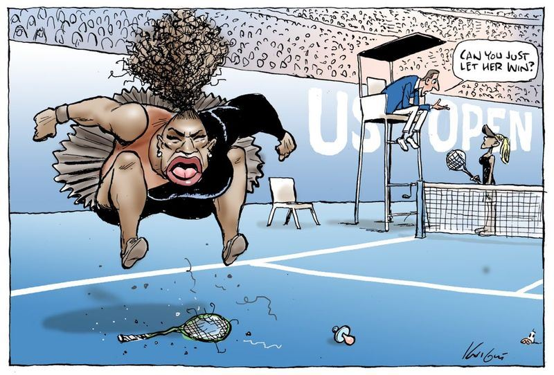 澳洲插畫家發表網球巨星小威在美國網球公開賽決賽發飆,怒摔網球拍的插畫,引起網友撻伐。(圖取自奈特推特 twitter.com/Knightcartoons)